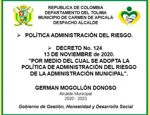 POLÍTICA ADMINISTRACIÓN DEL RIESGO