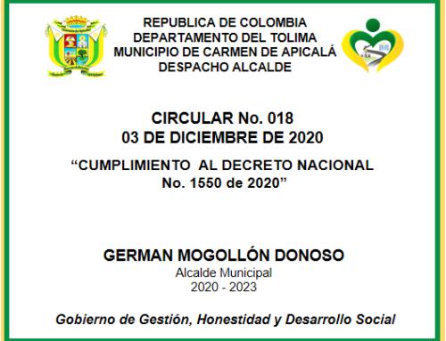 CIRCULAR No. 018 – 03 DE DICIEMBRE DE 2020