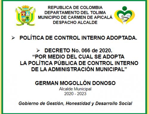 POLÍTICA DE CONTROL INTERNO Y ADOPCIÓN 2020 – 2023