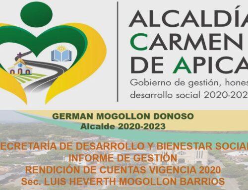 RENDICIÓN DE CUENTAS VIGENCIA 2020 – SECRETARÍA DE DESARROLLO Y BIENESTAR SOCIAL