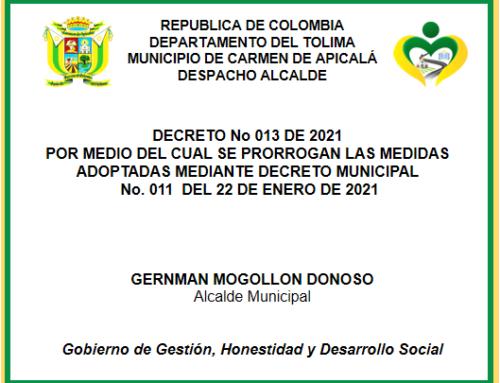 DECRETO No. 013 – 01 DE FEBRERO DE 2021