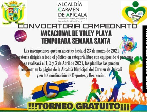 CONVOCATORIA CAMPEONATO VACACIONAL DE VOLEY PLAYA TEMPORADA SEMANA SANTA