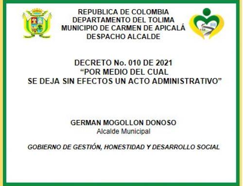 DECRETO 010 DE 2021