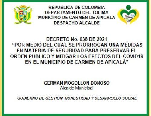 DECRETO No. 038 DE 2021